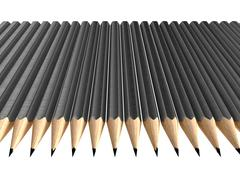 Grey pencils arrangement Stock Illustration