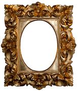 Oval gilded frame Stock Photos
