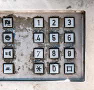 Old public telephone keypad Stock Photos