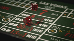 Stock Video Footage of Throwing Dice on Craps Game