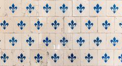 Old tiles fleur de lys - stock photo
