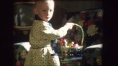 Super Cute Boy EASTER EGGS Basket 1960s Vintage Retro Film Home Movie 8204 - stock footage