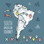 Stock Illustration of Doodle South America map on navy blue chalkboard with pins and extras vector