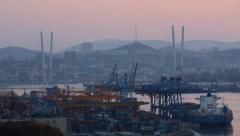 Panorama of the port city, cargo, harbor cranes and ships Stock Footage