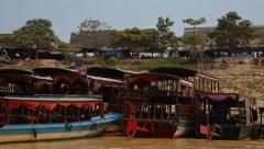 National boats at the pier, village in South Asia Stock Footage