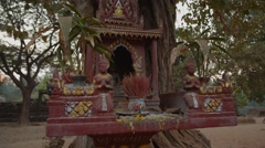 Spirit house, place of worship near the temple in Cambodia Stock Footage