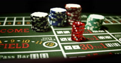 Dice and Chips on Craps Game - stock footage