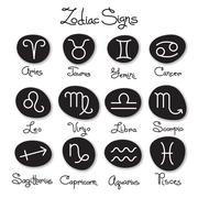 Set of simple zodiac signs with captions - stock illustration