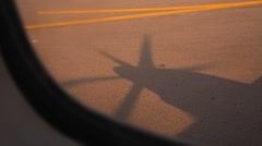 Propeller of the aircraft engine, the shadow on the ground Stock Footage