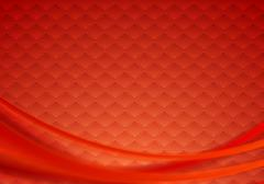 Red tech wavy background - stock illustration