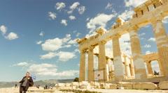Stock Video Footage of 4K Acropolis parthenon site timelapse pillars bright sunny sky 30p