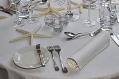 Wedding guest table decorations - stock photo