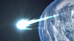 Artist rendering, Bright comet flyby Earth. Stock Footage