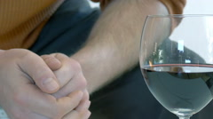 A man is drinking a glas od red wine Stock Footage