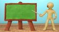 Animated plasticine man speak at the board. Loop. HD Footage