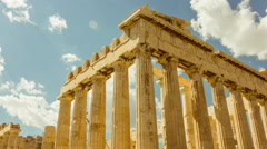HD Acropolis Temple of parthenon timelapse pillars bright sunny sky 30p Stock Footage