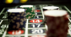 Croupier Putting Chips on Roulette Stock Footage