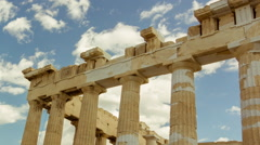 Stock Video Footage of HD Acropolis parthenon site timelapse pillars bright sunny sky 30p