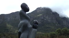 Sculpture of two people in Kirstenbosch.(Cape Town) Stock Footage