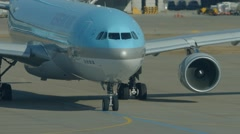 The aircraft with engines inoperative ready for taxing in the airport Stock Footage