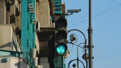 Traffic light turns red, CCTV cameras Stock Footage