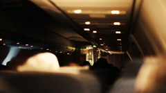 Inside an Airplane Cabin at Night Stock Footage