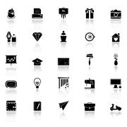 Art and creation icons with reflect on white background - stock illustration