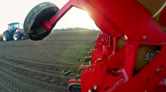 Seeding machine sowing of maize Stock Footage