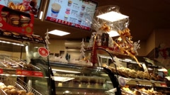 Close up check out counter inside Tim hortons Stock Footage