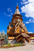 Wooden church in Izmailovo Kremlin - Moscow Russian - stock photo