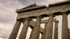 Stock Video Footage of HD Acropolis Parthenon site timelapse pillars overcast sky sunset 30p
