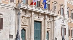 Palazzo Montecitorio. Rome, Italy. 4K Stock Footage