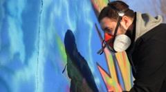ON Street art people and urban wall graffiti Stock Footage