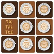 Tic-Tac-Toe of latte art Stock Illustration