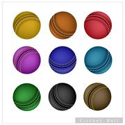 Set of Cricket Ball on White Background Stock Illustration