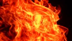 The burning house, strong flame. - stock footage