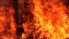 The burning house, strong flame, distress. Stock Footage
