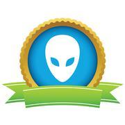 Gold extraterrestrial logo Stock Illustration