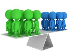 Stock Illustration of Perfect balance between two group of people
