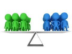 Perfect balance between two group of people Stock Illustration