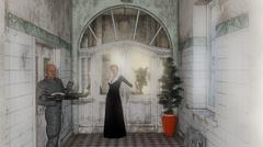 an interior of asylum with people - stock illustration