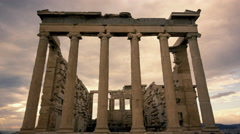 Stock Video Footage of 4K Acropolis Parthenon site timelapse pillars overcast sky sunset 30p