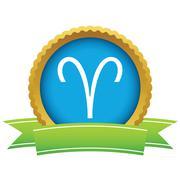 Gold Aries logo Stock Illustration