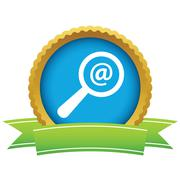 Gold search mail logo - stock illustration