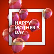 Stock Illustration of Happy Mothers Day label with balloons