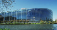 South facade of European Parliament with Ill river Stock Footage