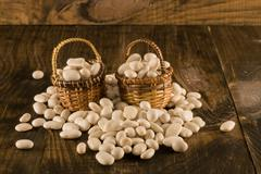 White beans in baskets Stock Photos