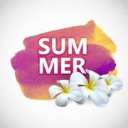 Summer label with frangipani flowers on watercolor stain - stock illustration