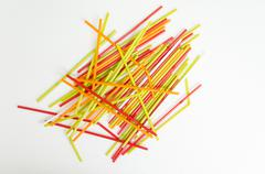 straw color colorful water suck use concept - stock photo