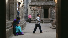 Tourists passing through the rooms of Aurangabad caves. Stock Footage